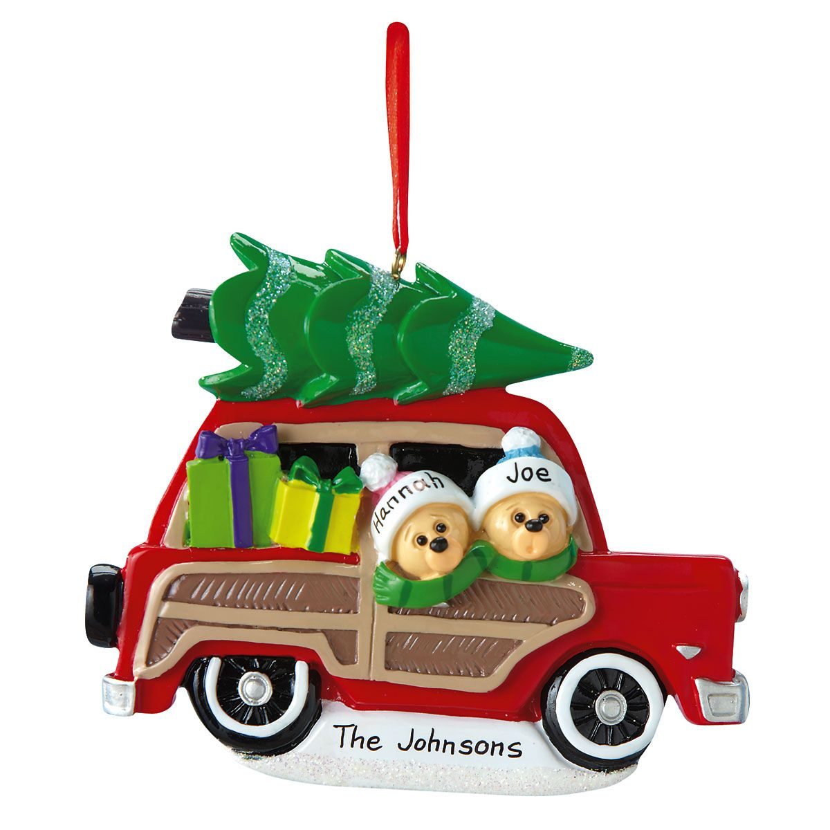 Woody Wagon Family Ornament-2 Names-815903A