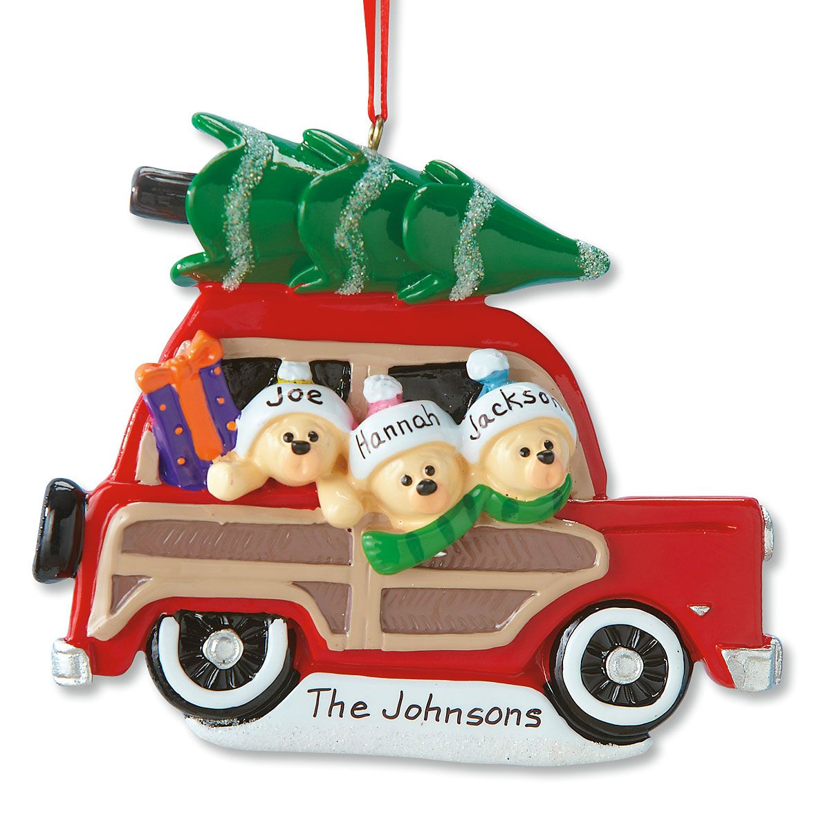 Woody Wagon Family Ornament-3 Names-815903B