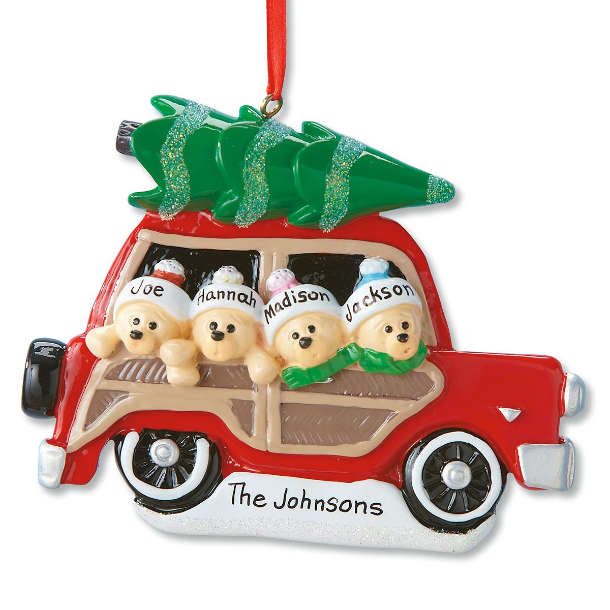 Woody Wagon Family Ornament-4 Names-815903C