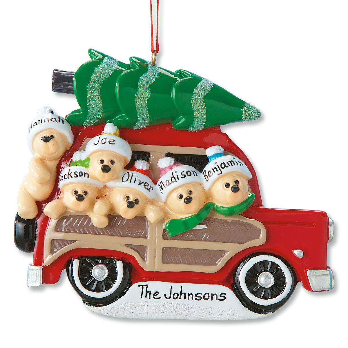 Woody Wagon Family Ornament-6 Names-815903E