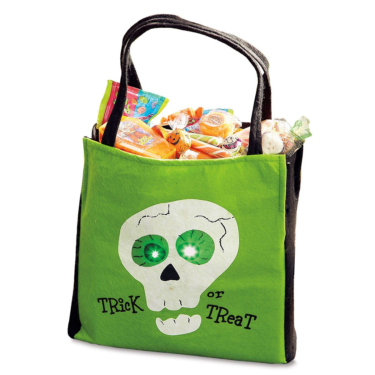 Green Light-Up Trick or Treat Bag