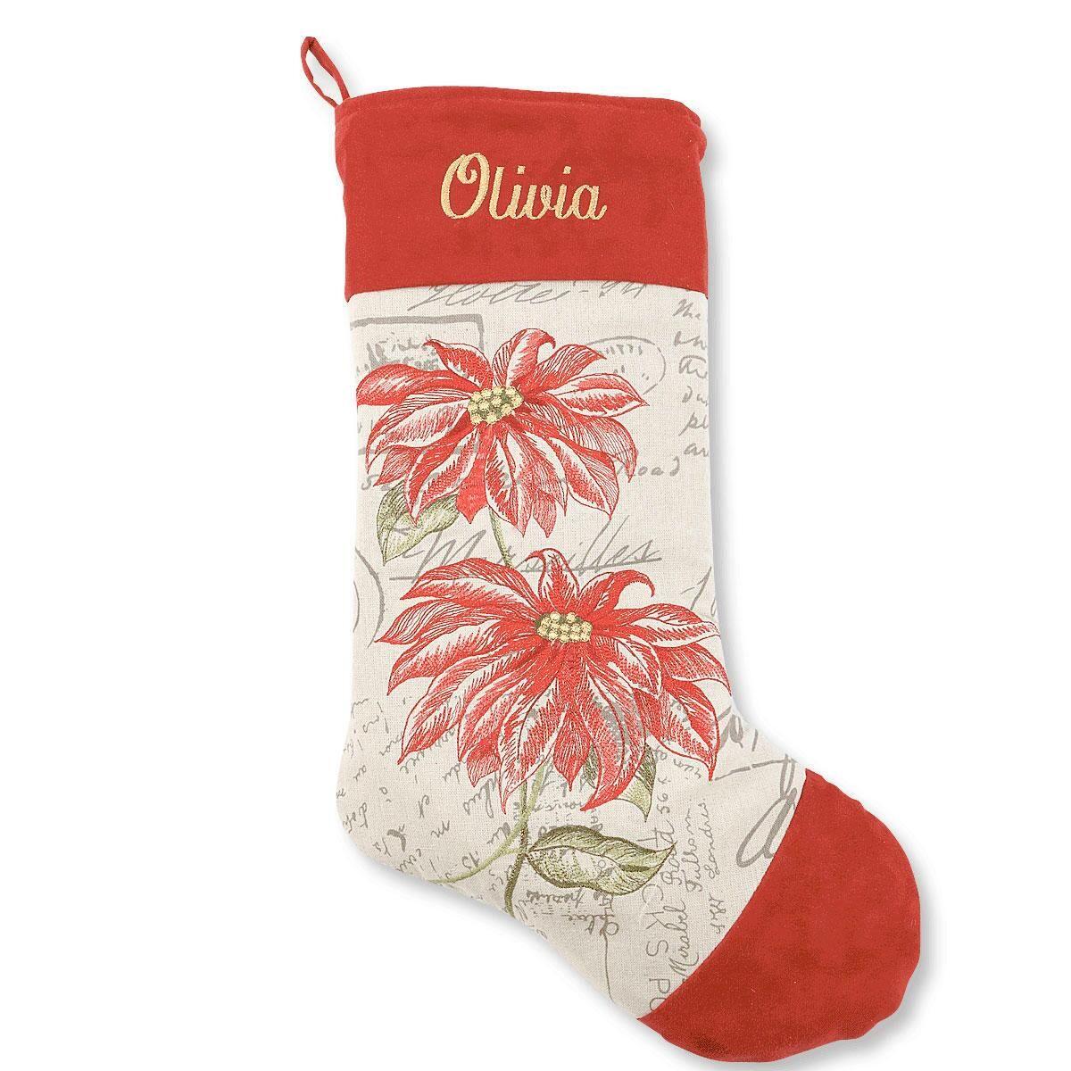 Poinsettias Design Christmas Stocking