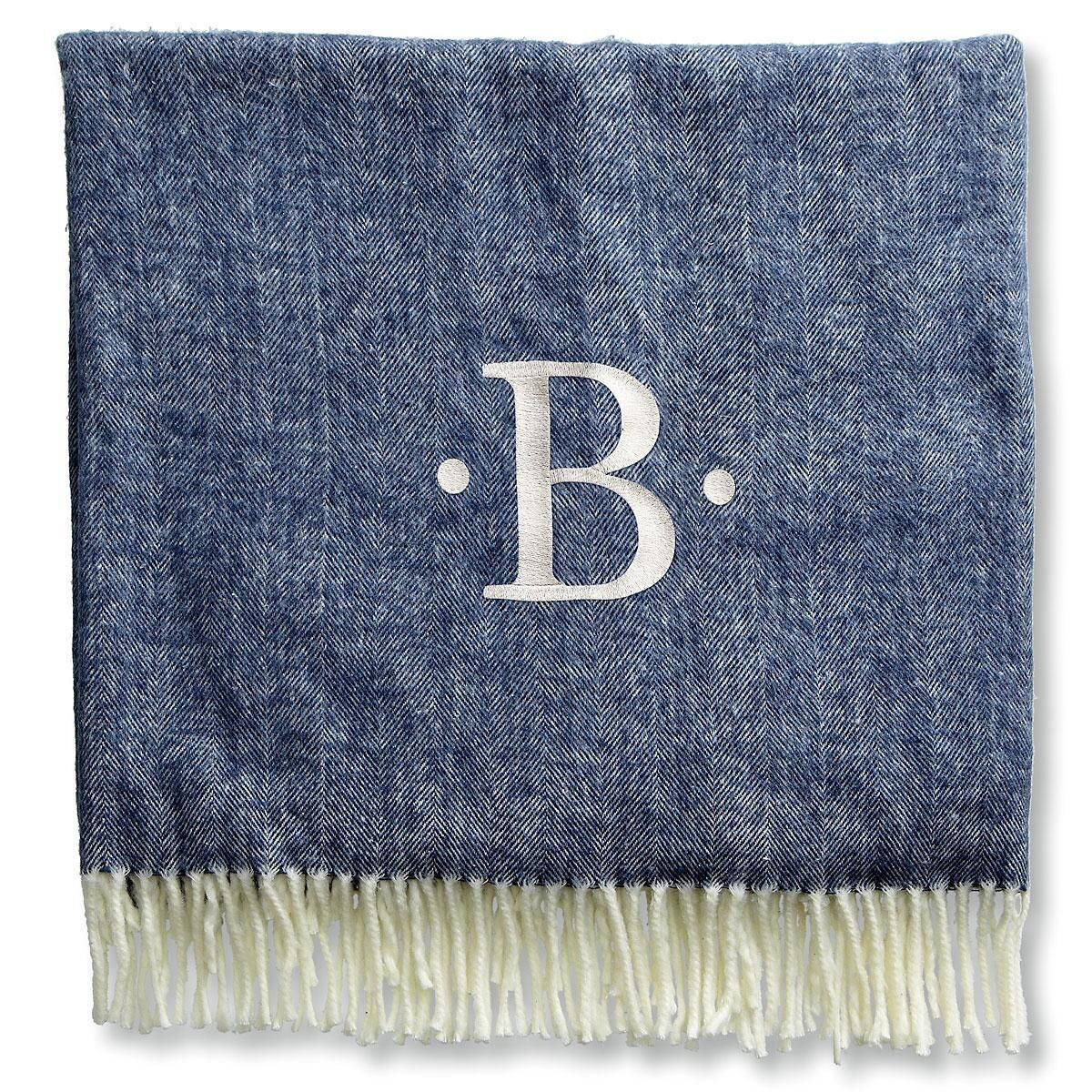 Personalized Blanket with Dots and Initial-3 Colors