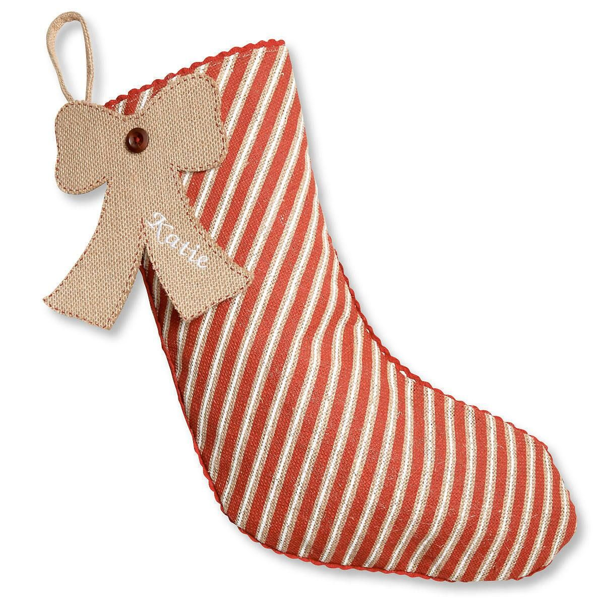 Burlap Personalized Christmas Stocking Striped With Bow Tag by Mud Pie