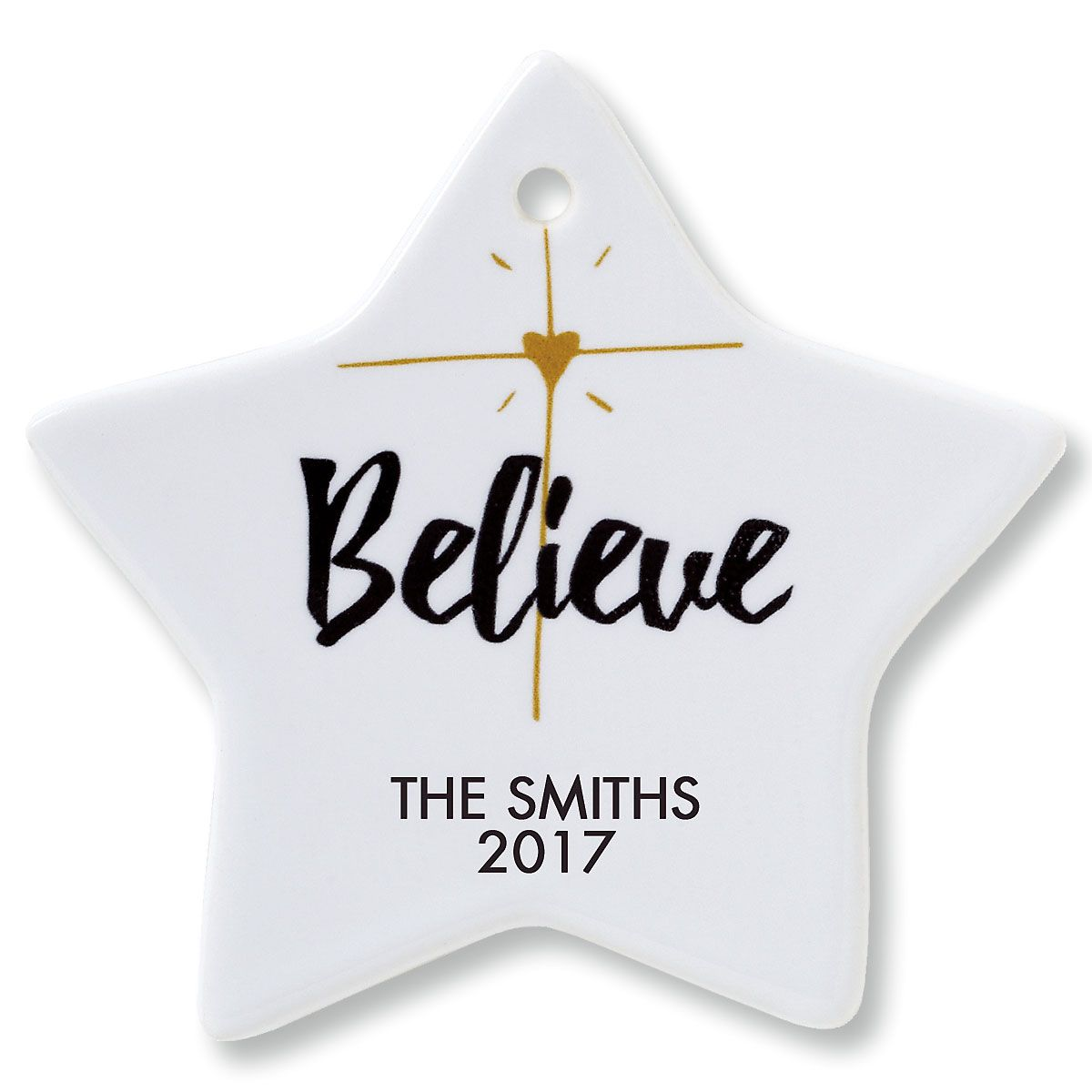 Believe Star Personalized Christmas Ornament
