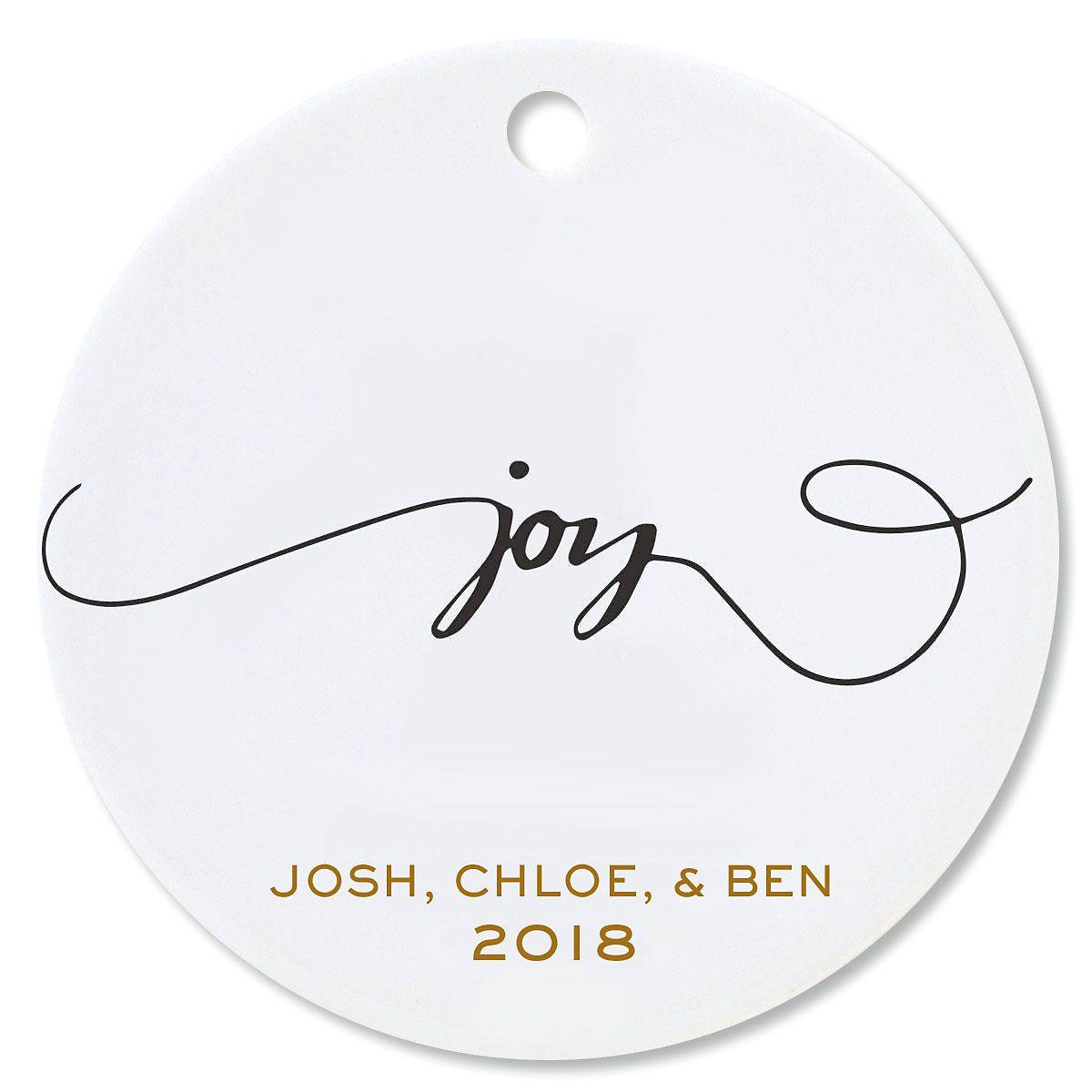 Joy Round Christmas Personalized Ornaments