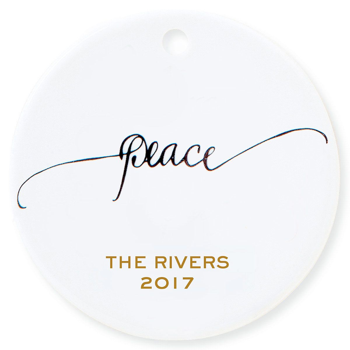 Peace Round Personalized Christmas Ornament