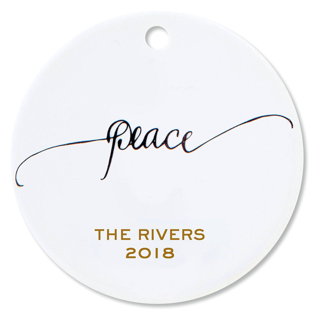 Peace Round Christmas Personalized Ornaments