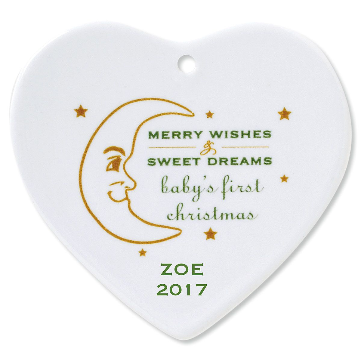 Merry Wishes Heart Personalized Baby's 1st Christmas Ornament
