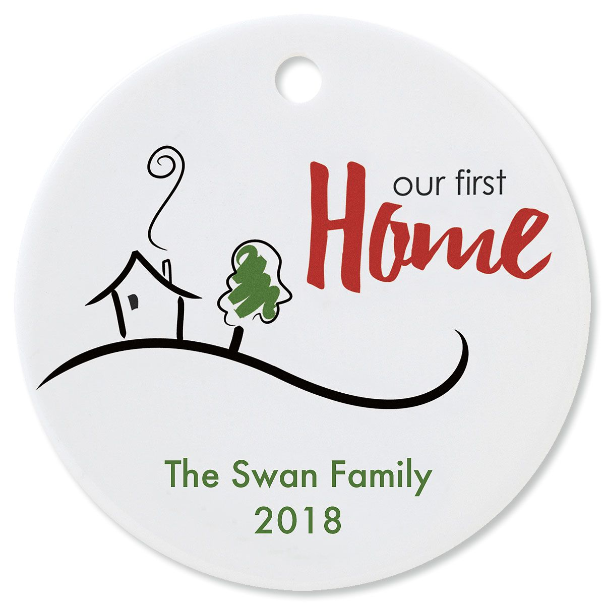 Our First Home Round Christmas Personalized Ornaments