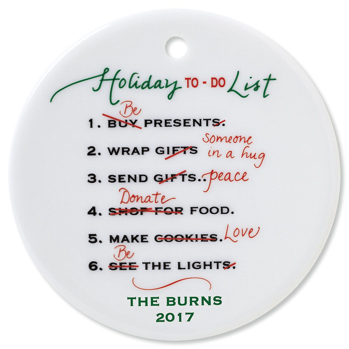 Holiday To Do Round Personalized Christmas Ornament