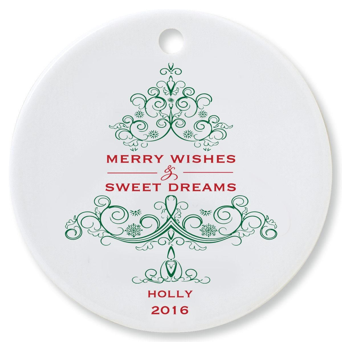 Merry Wishes Round Ornament by Designer Jillian Yee-Pham