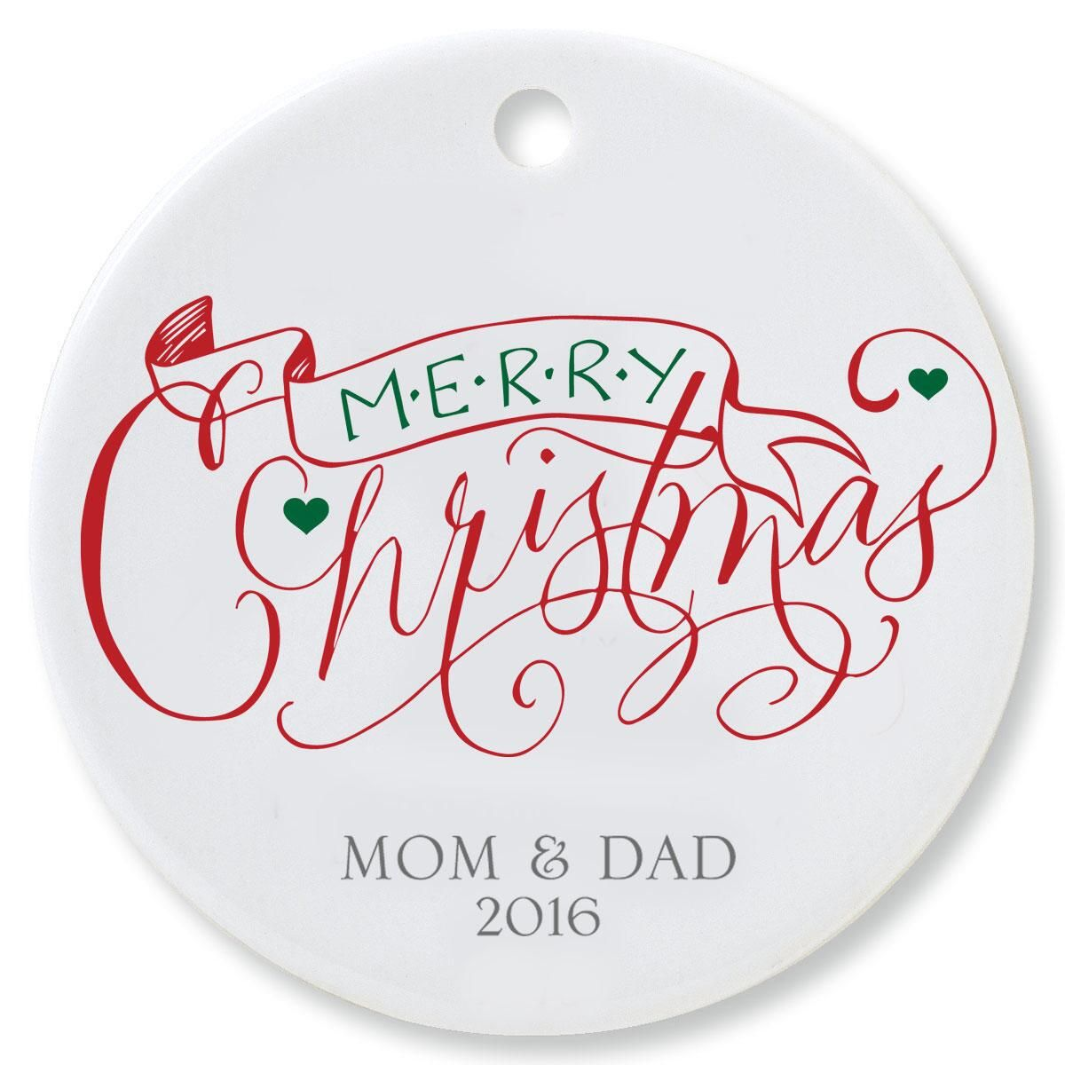 Merry Christmas with Banner Round Ornament