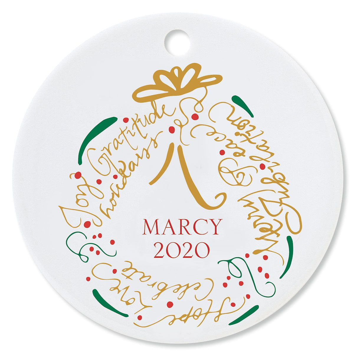 Wreath Round Christmas Personalized Ornaments