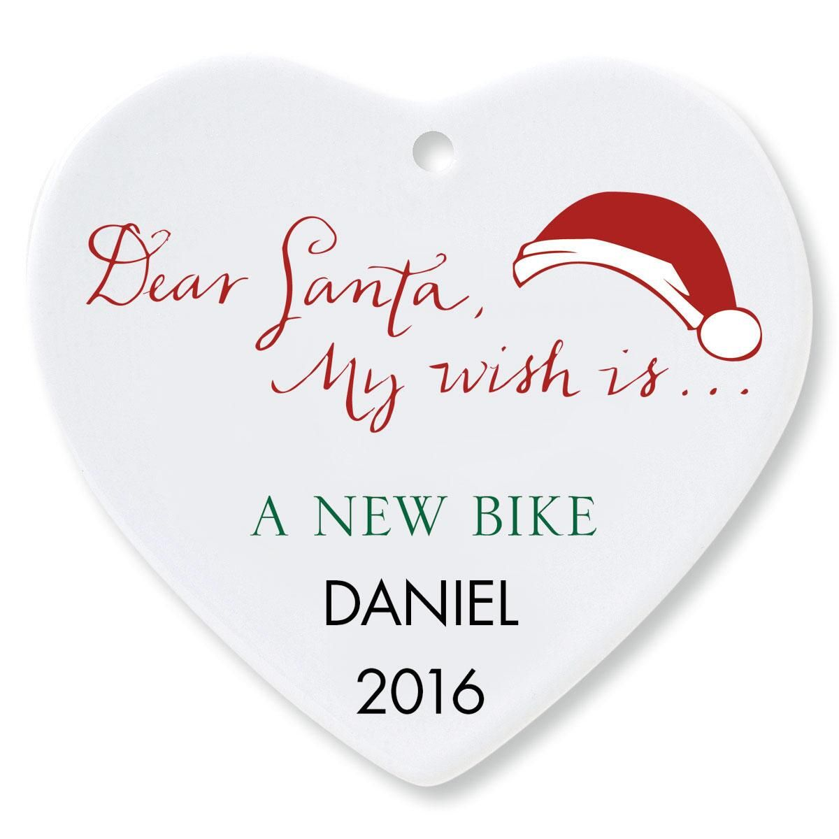 Dear Santa Heart Ornament