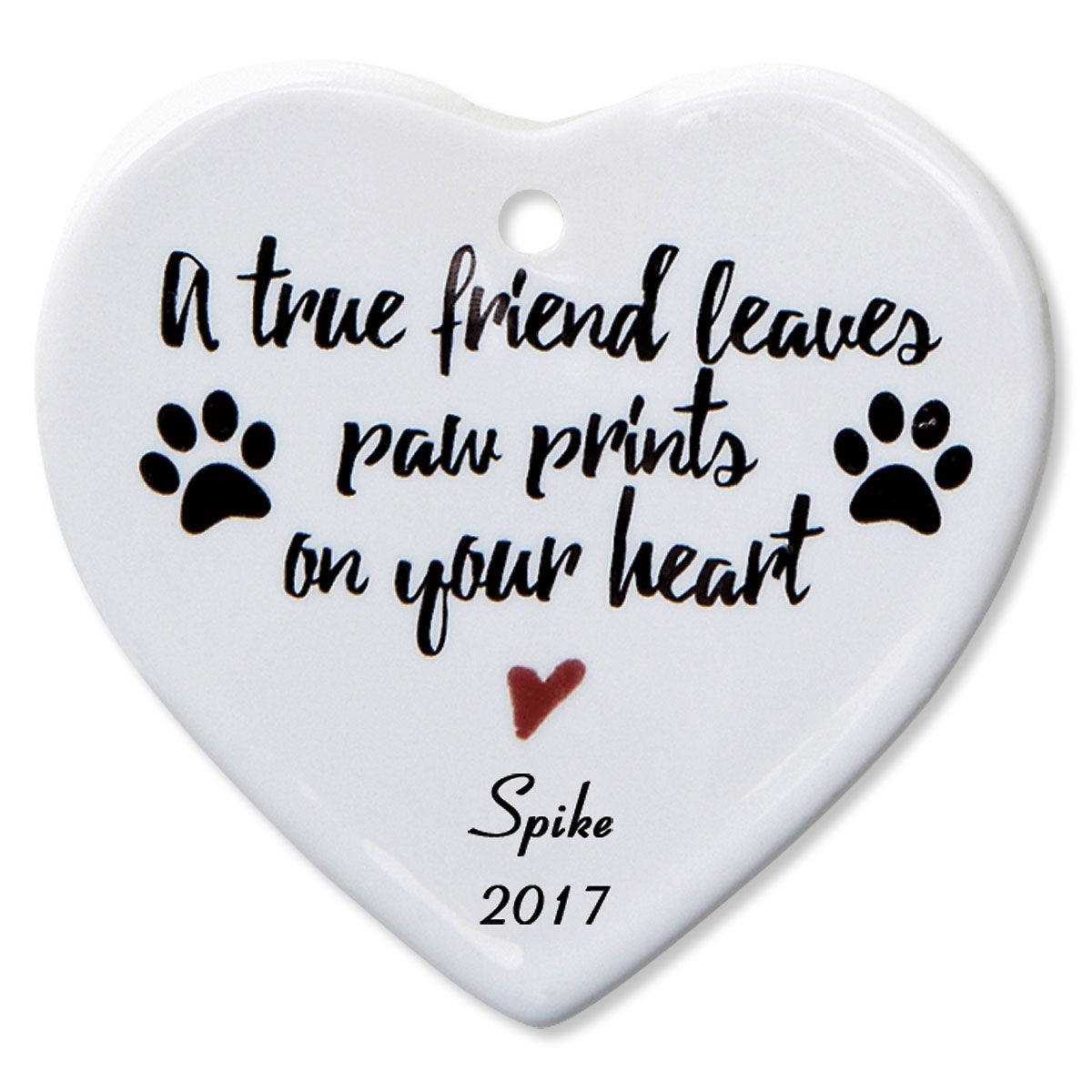 A True Friend Heart Personalized Pet Memorial Christmas Ornament