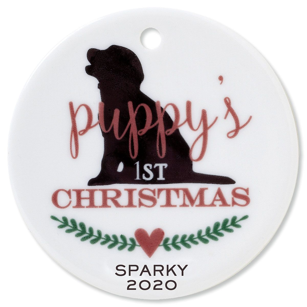 Personalized Puppy's 1st Round Pet Christmas Ornament