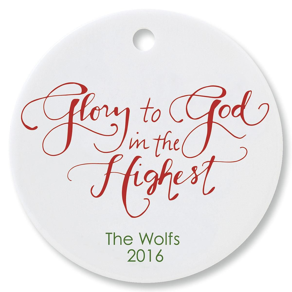 Glory to God Round Personalized Christmas Ornament