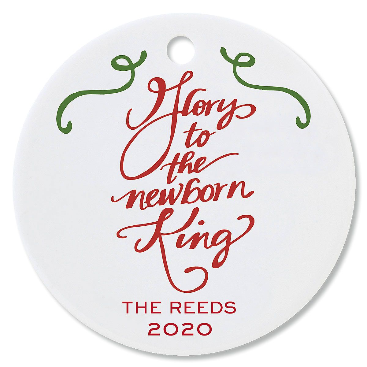 Glory to the Newborn King Round Christmas Personalized Ornaments