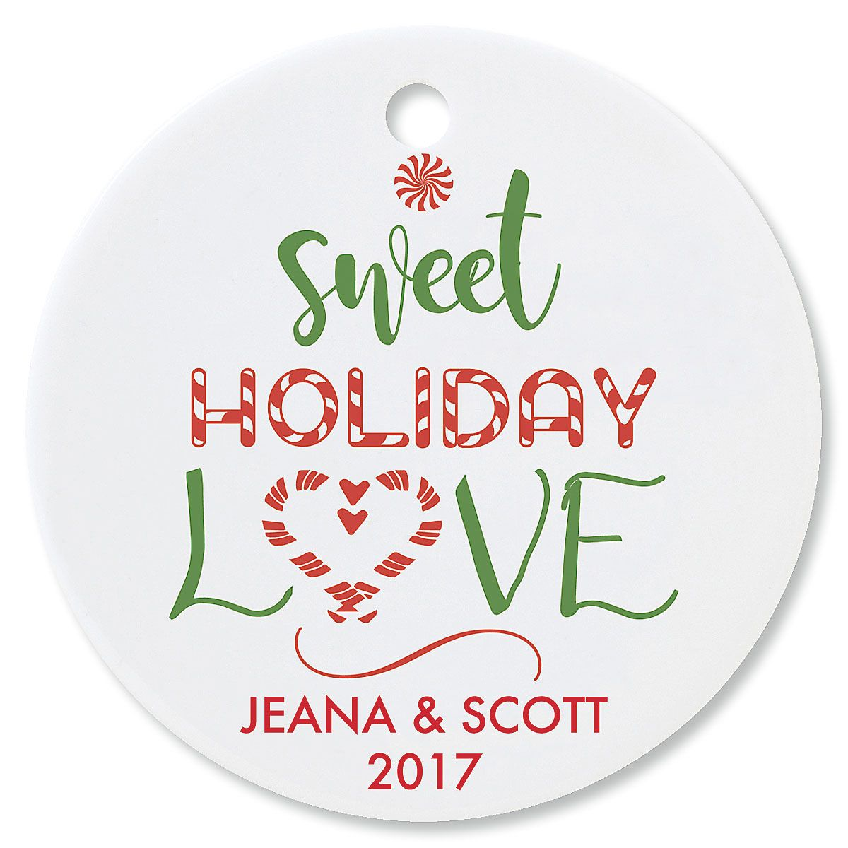 Sweet Holiday Love Round Christmas Personalized Ornaments