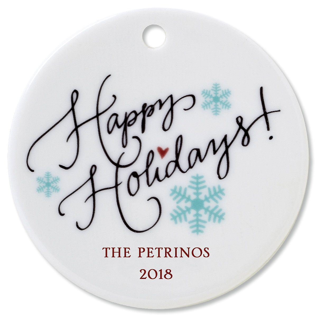 Happy Holidays Round Christmas Personalized Ornaments