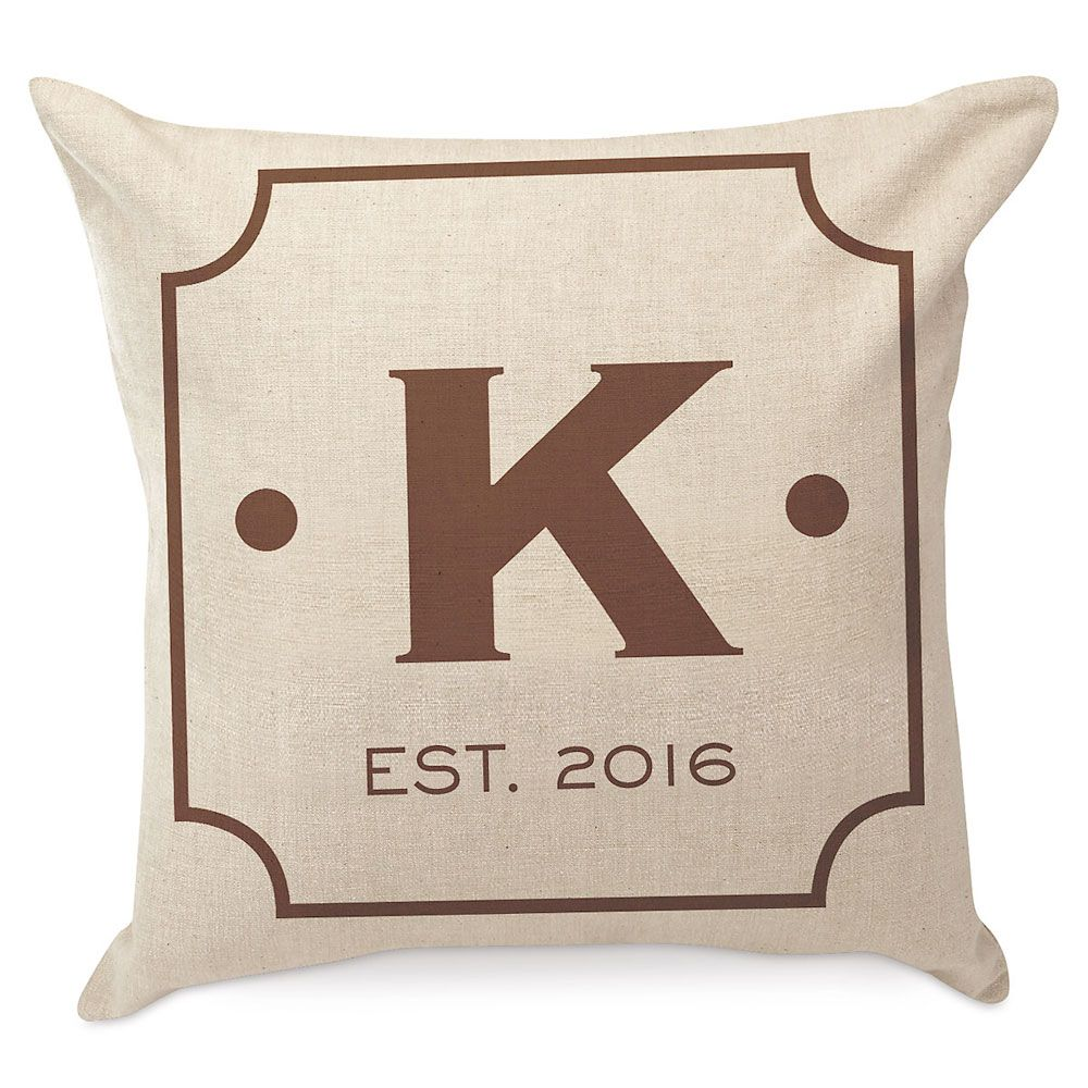 Initial Square Personalized Pillow by Designer Jillian Yee-Pham