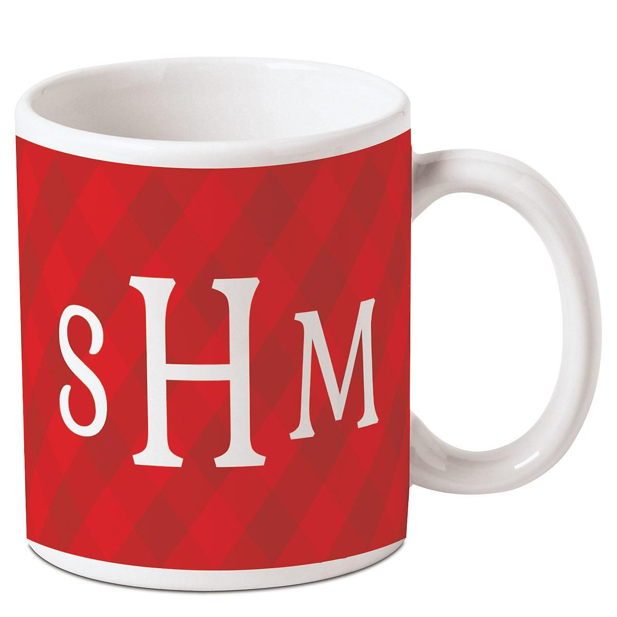 Red and White Initials Mug