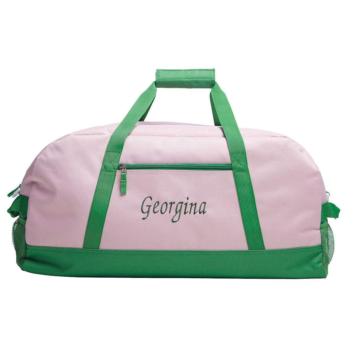 Pink and Green Duffel Bag