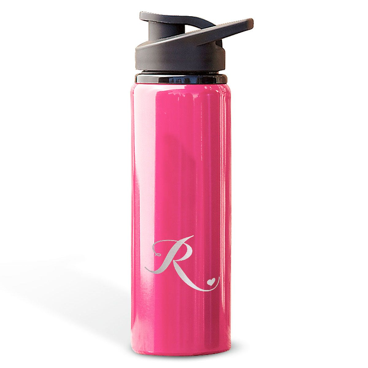 Aluminum Water Bottles with Heart-Pink-816395D