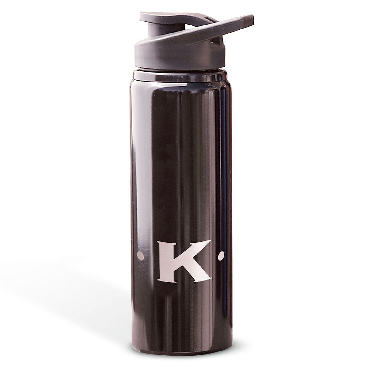 Aluminum Water Bottles with Initial-Black-816396A