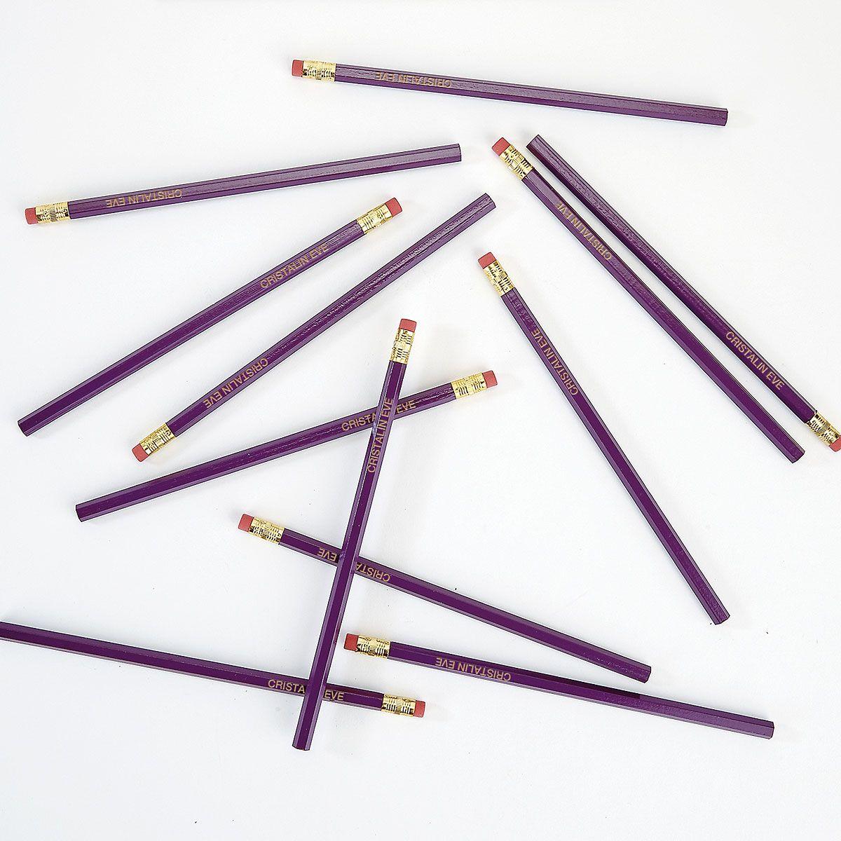 #2 Personalized Hardwood Pencils - Light Purple