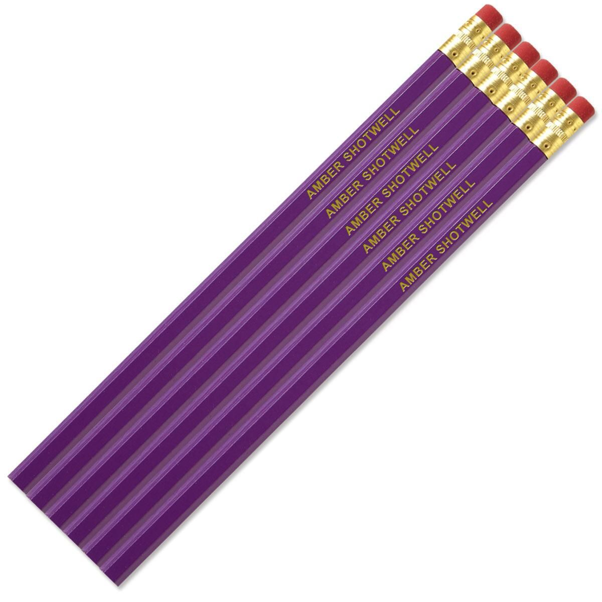 Light Purple Personalized Pencils