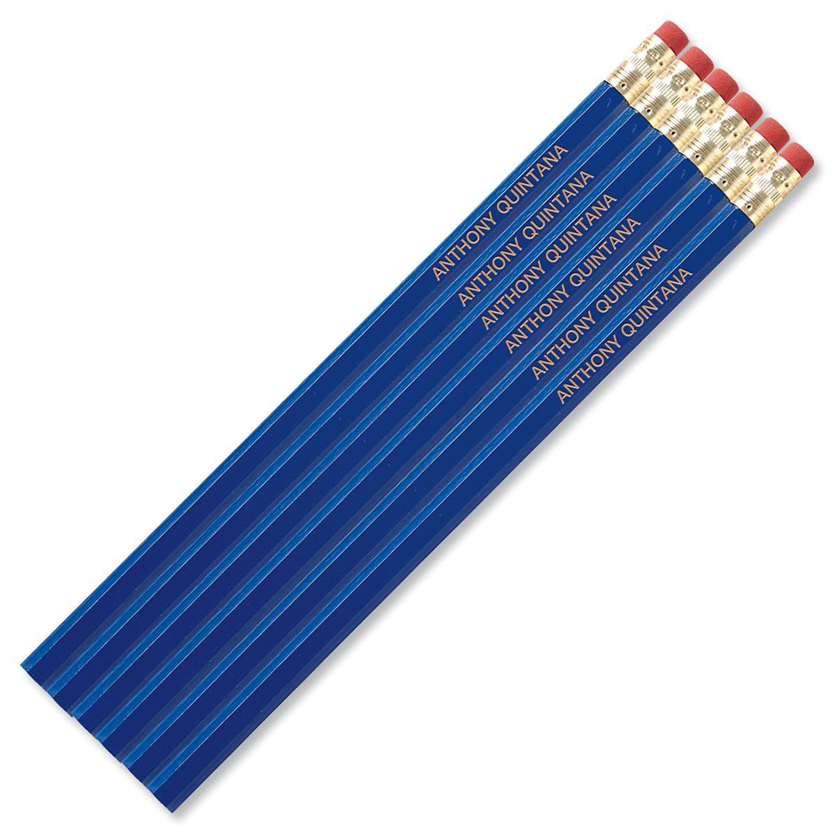 #2 Personalized Hardwood Pencils - Blue