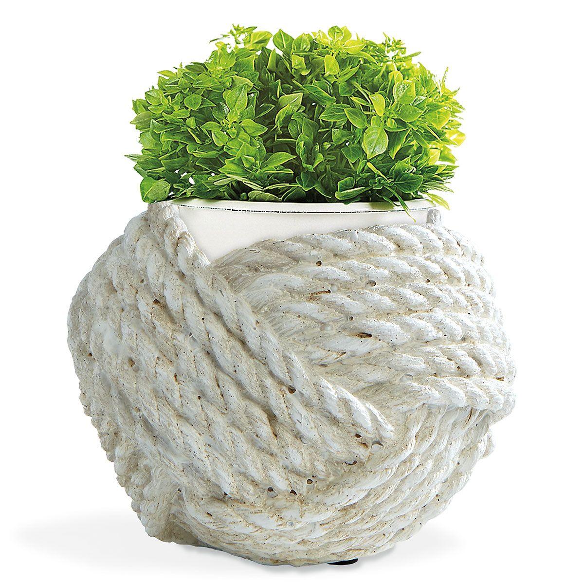 Nautical Rope Planter - White