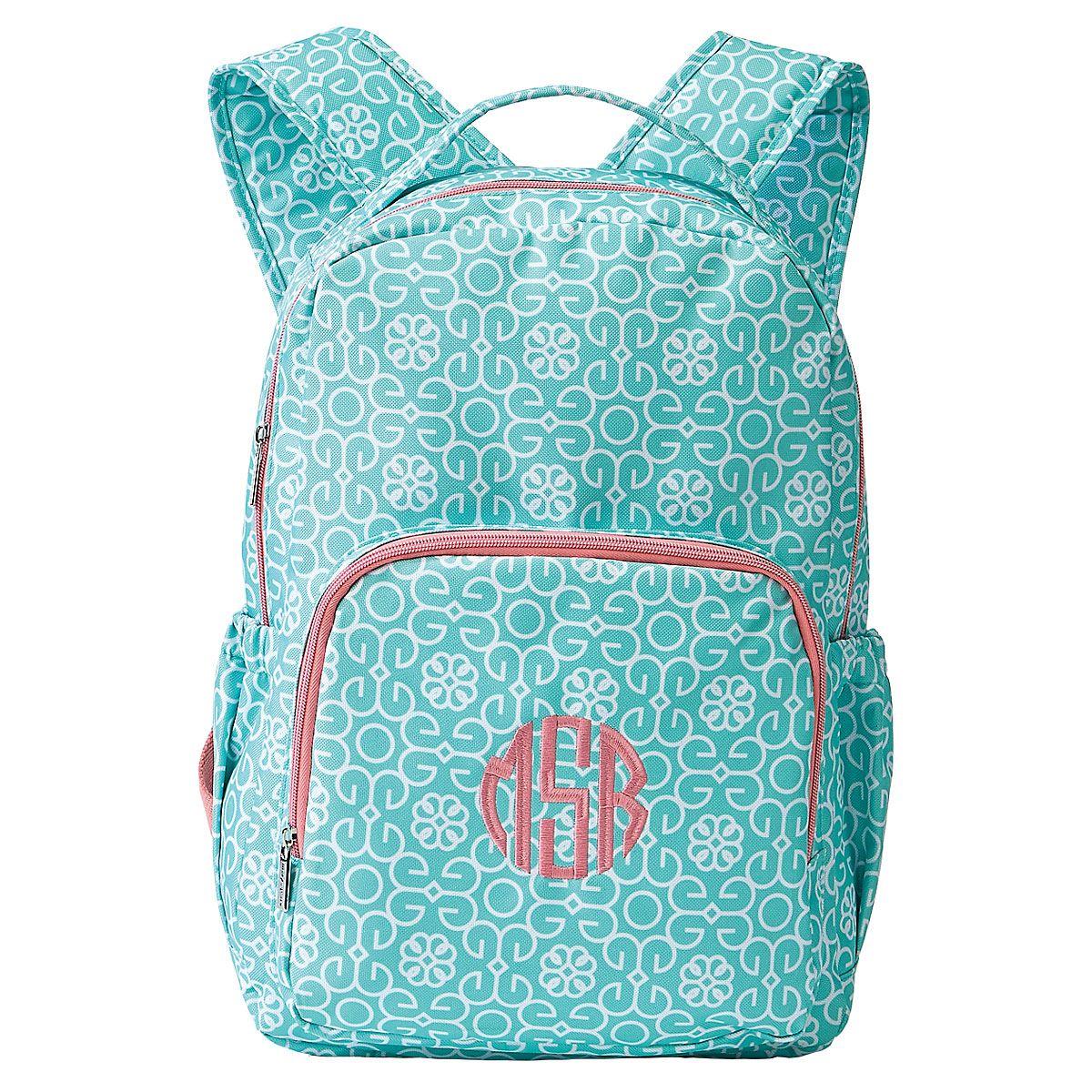 Mint Damask Backpack - Name