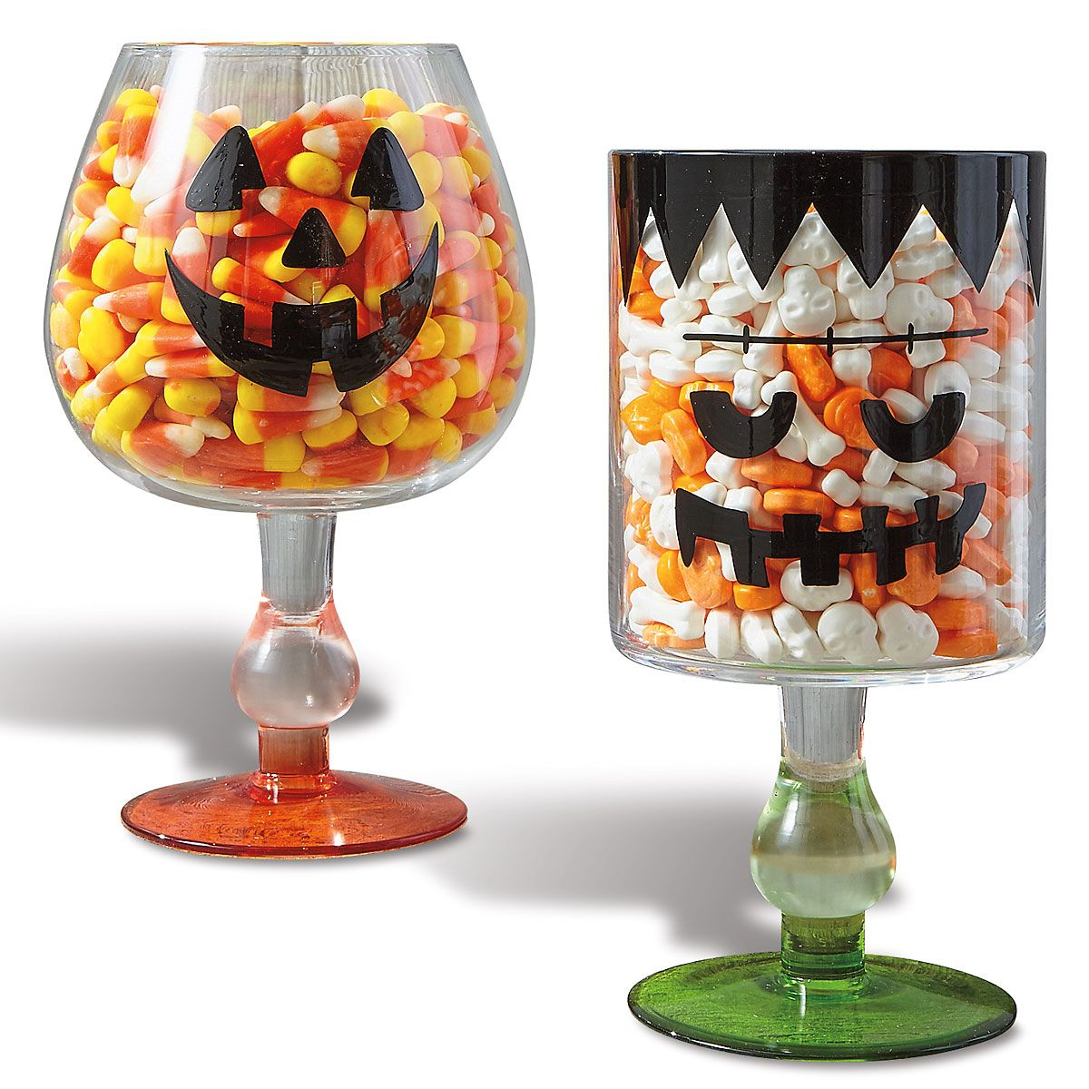 Halloween Spooky Faces Footed Candy Bowl