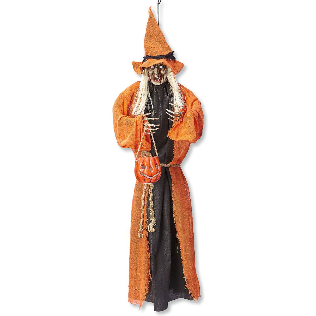 Orange Hanging Witches with LED Lights
