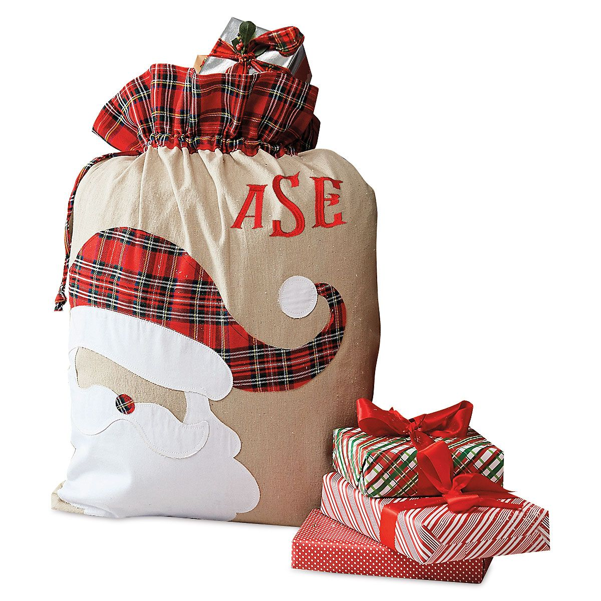 Santa Personalized Tartan Christmas Sack - Monogram
