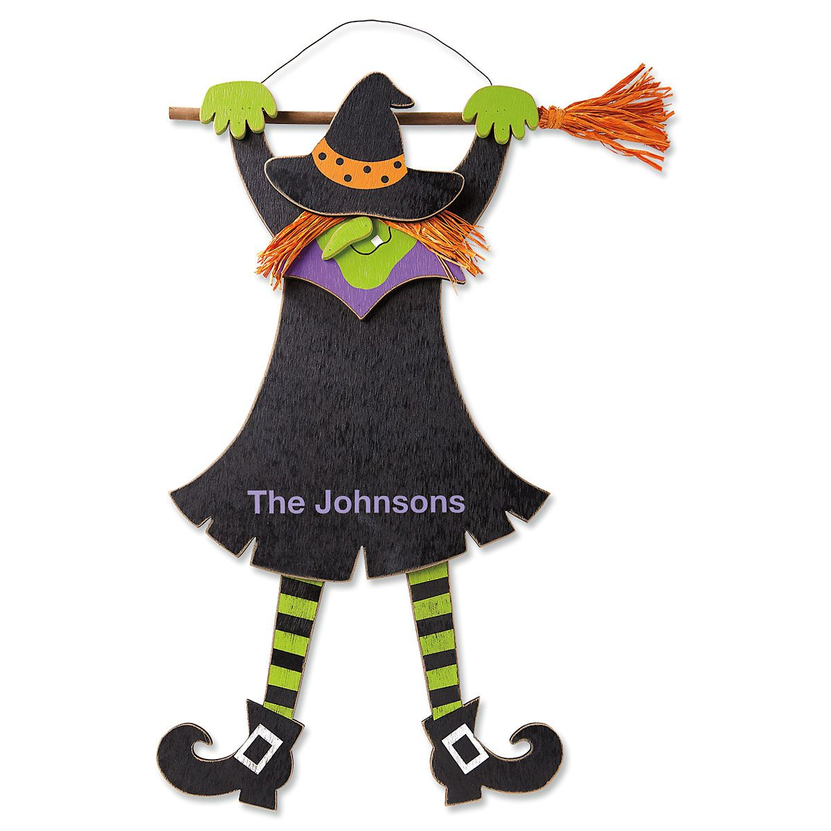 Personalized Hanging Wooden Witch