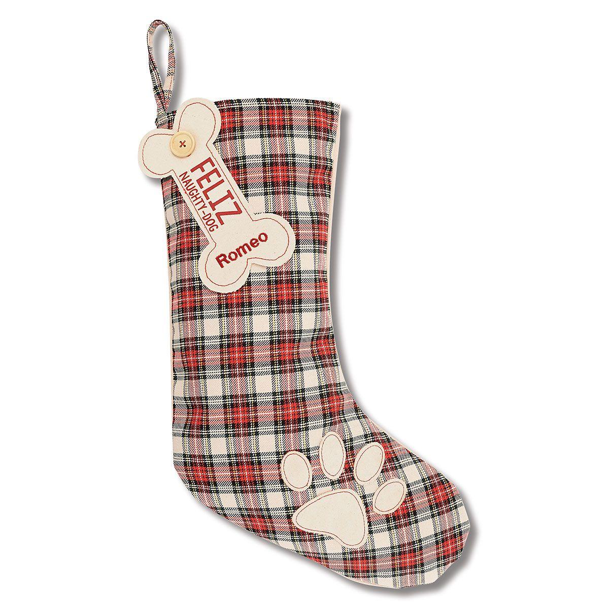 White Pet Tartan Personalized Christmas Stocking