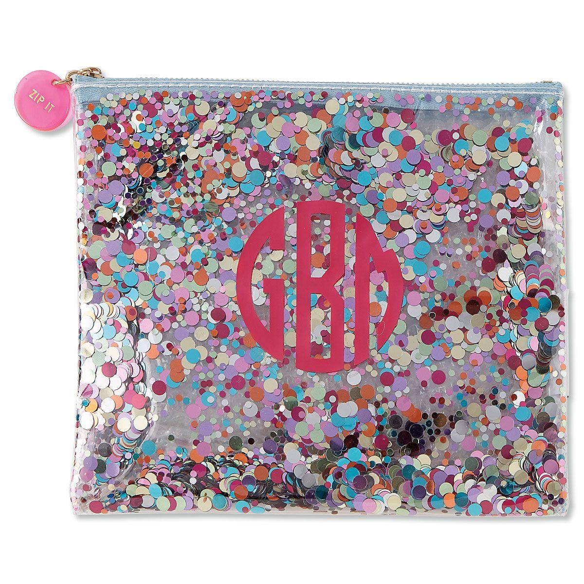 Monogrammed Confetti Pouch
