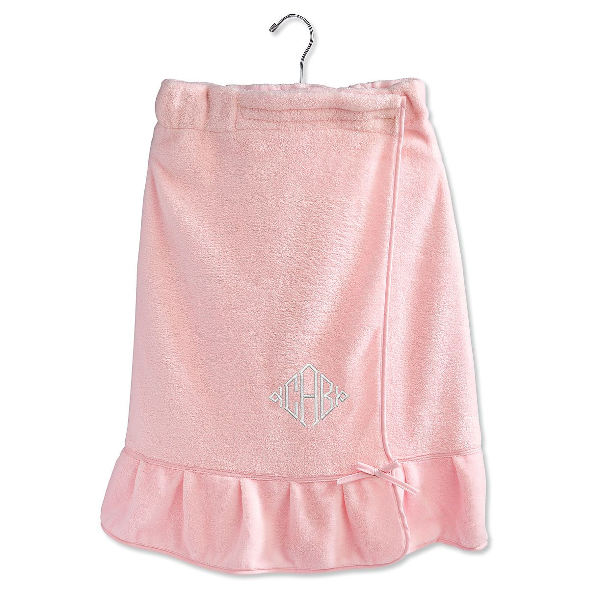Pink Ruffle Monogrammed Spa Wrap