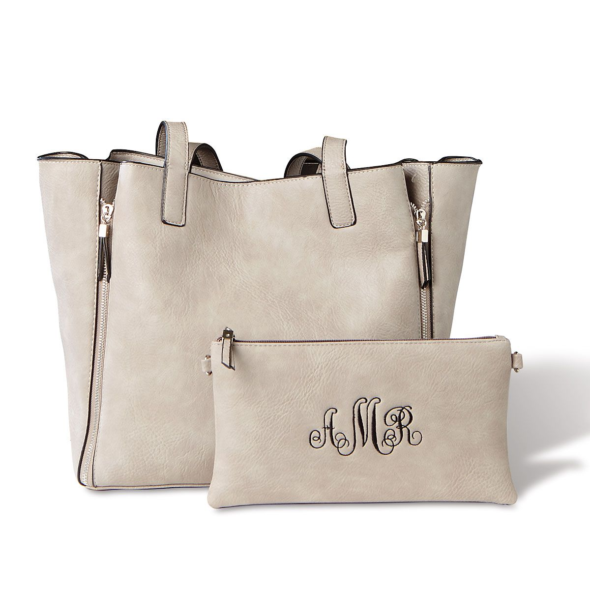 Gray Carry-All Bag with Matching Personalized Crossbody Purse