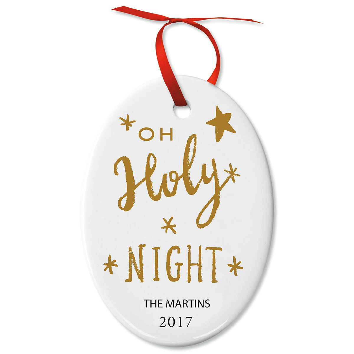 Oh Holy Night! Oval Christmas Personalized Ornaments