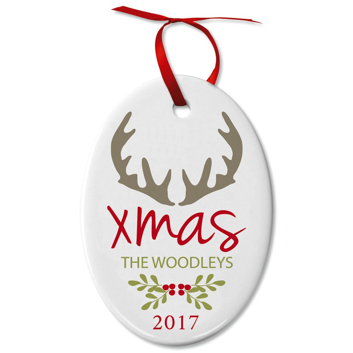 Antlers Oval Personalized Christmas Ornament