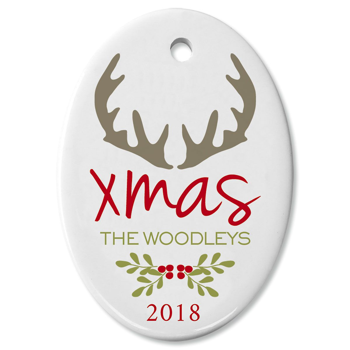 Antlers Oval Christmas Personalized Ornaments