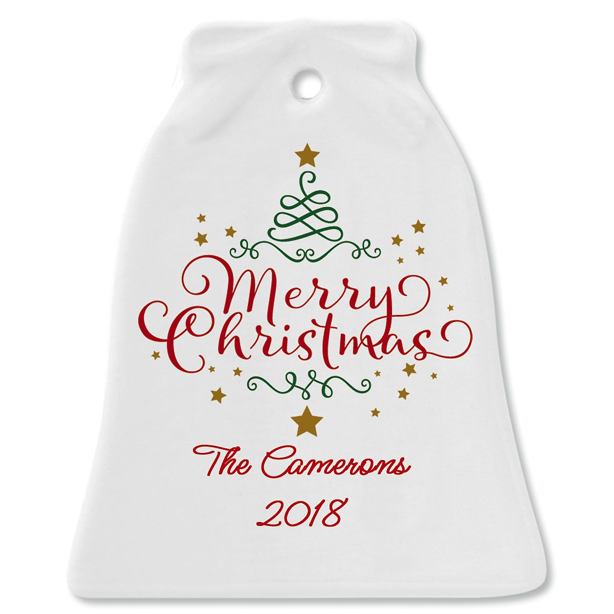 Merry Christmas Bell Christmas Personalized Ornaments