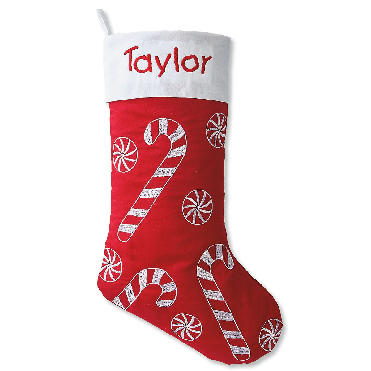 Candy Cane and Peppermint Personalized Christmas Stocking