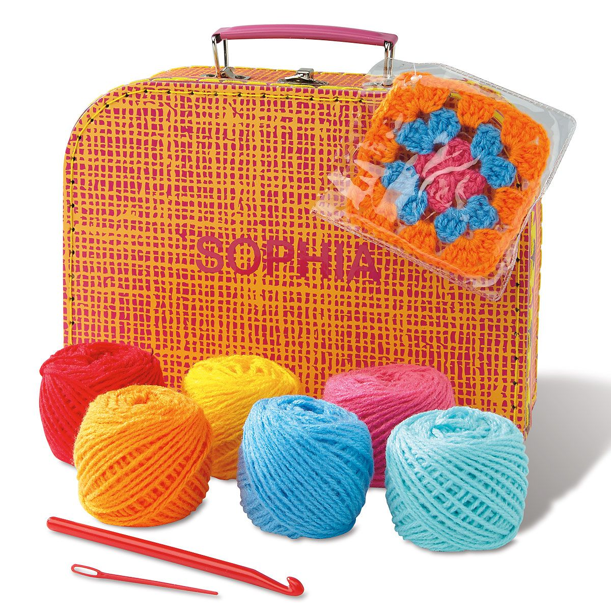 Granny Squares Crochet Kit with Personalized Carrying Case