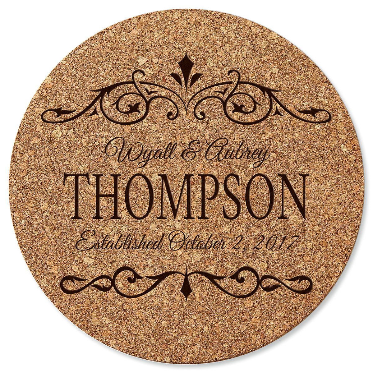Personalized Established In… Round Cork Trivet